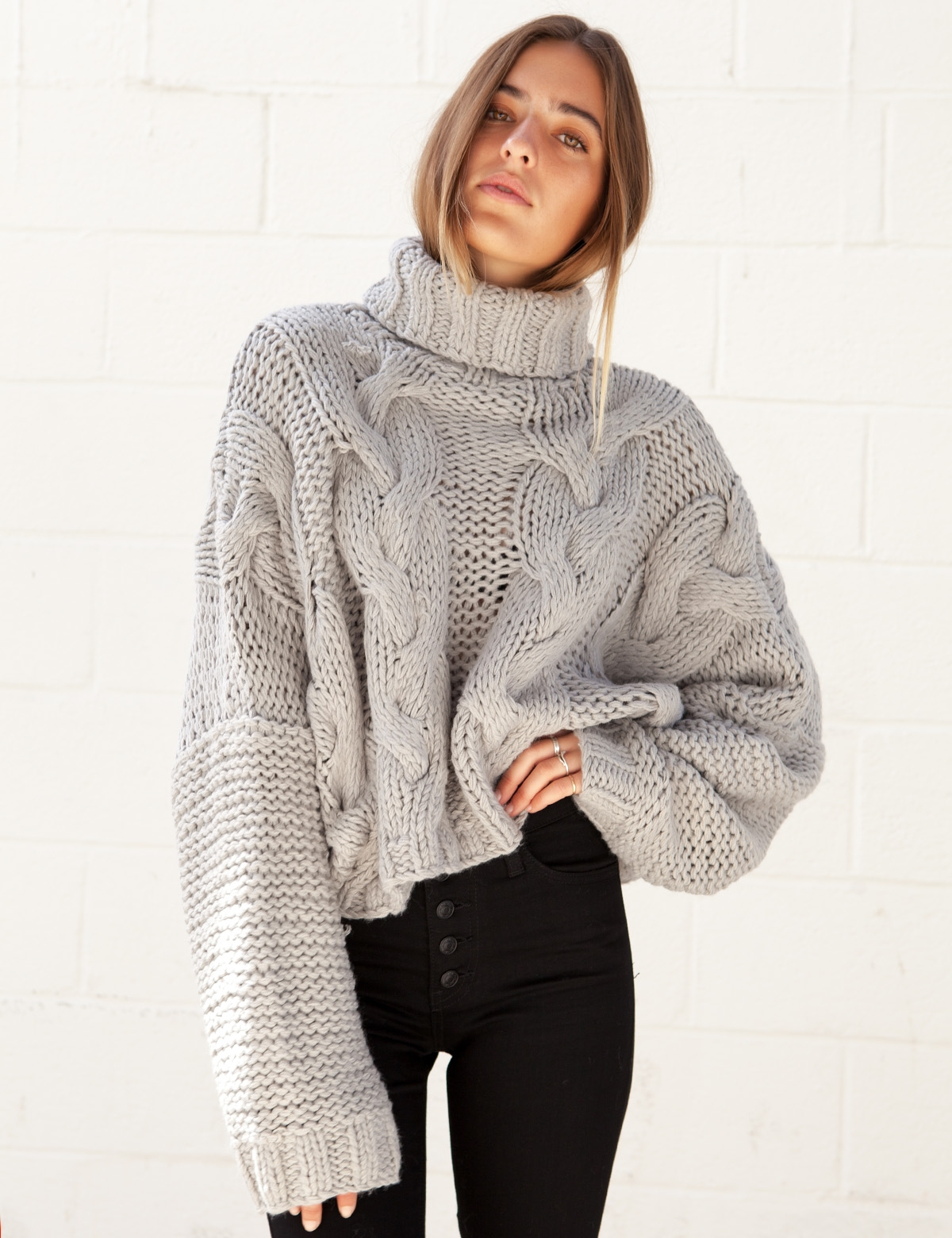 Sweetheart Grey Turtle Neck