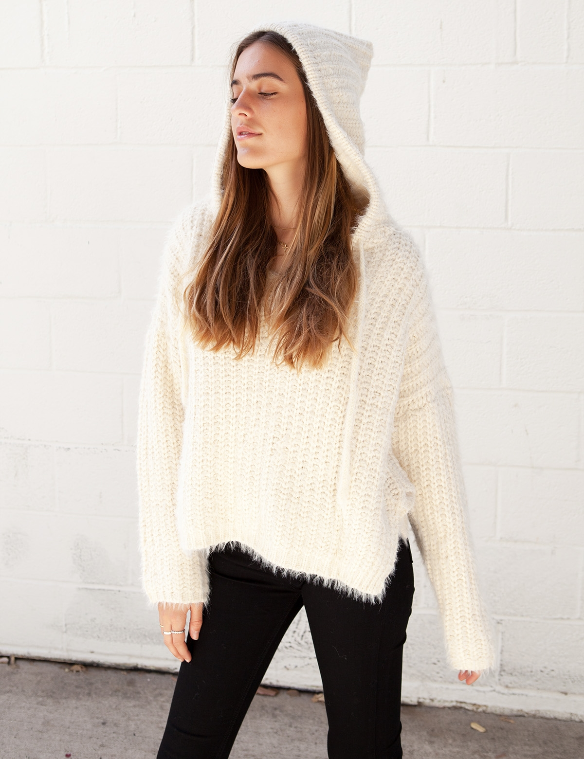 Phoebe Cream Knit Hooded Sweater