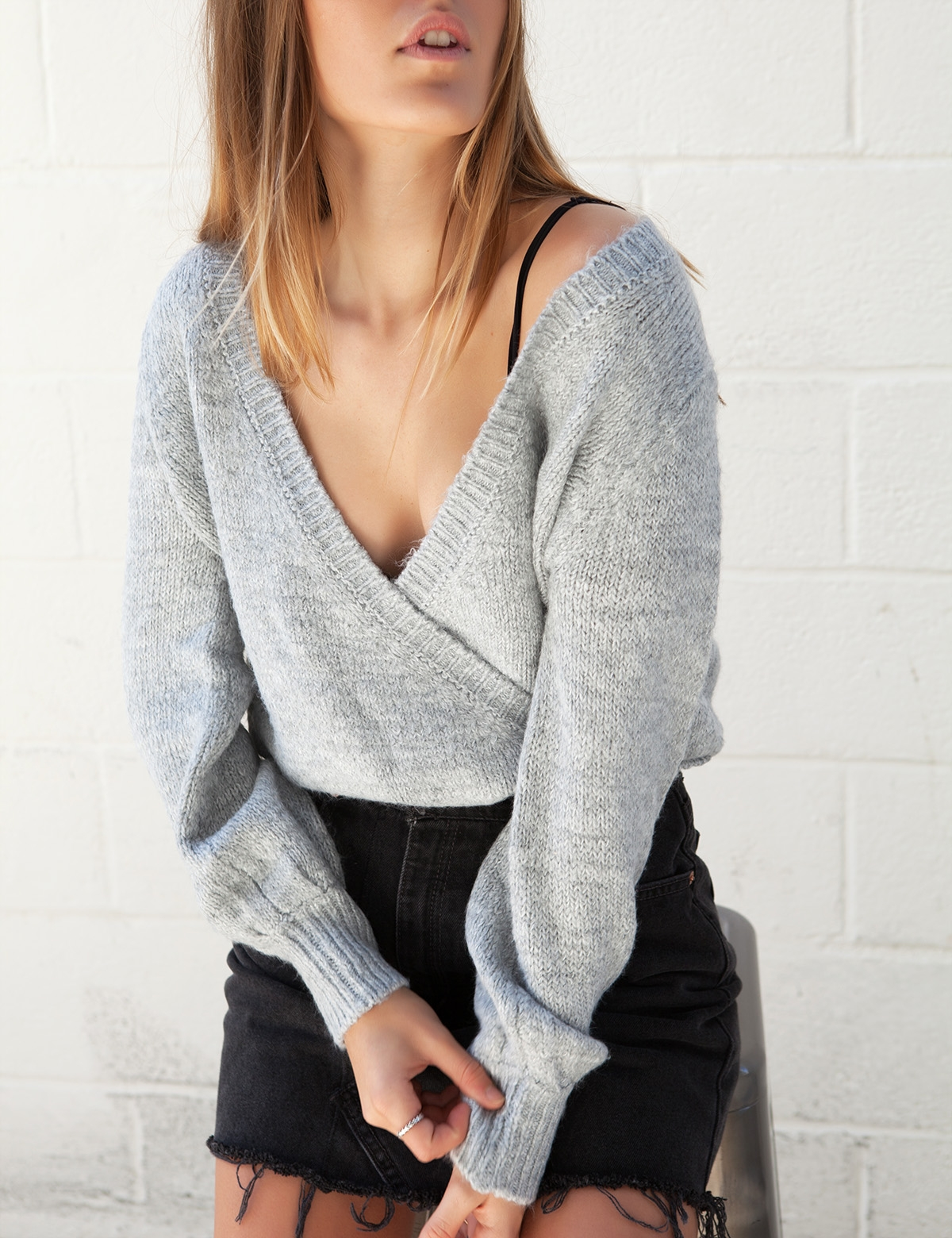 Aint No Other Wrap Sweater - Grey