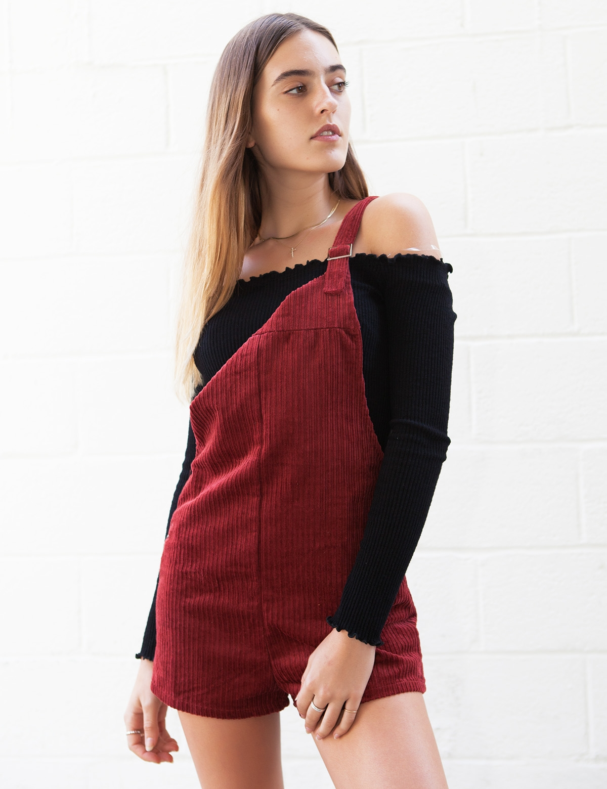 Emma Red Corduroy Overalls