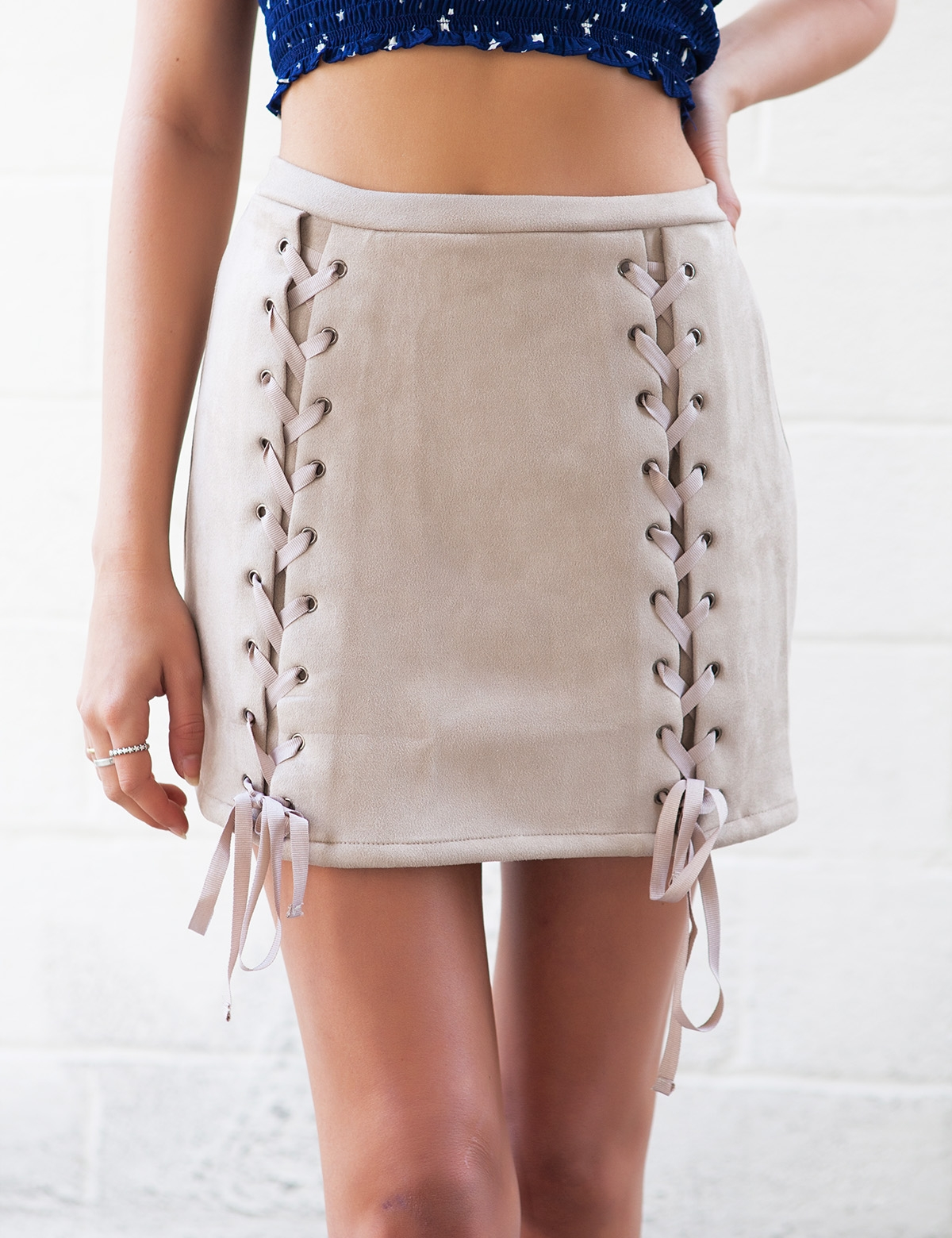 All Tied Up Tan Suede Skirt
