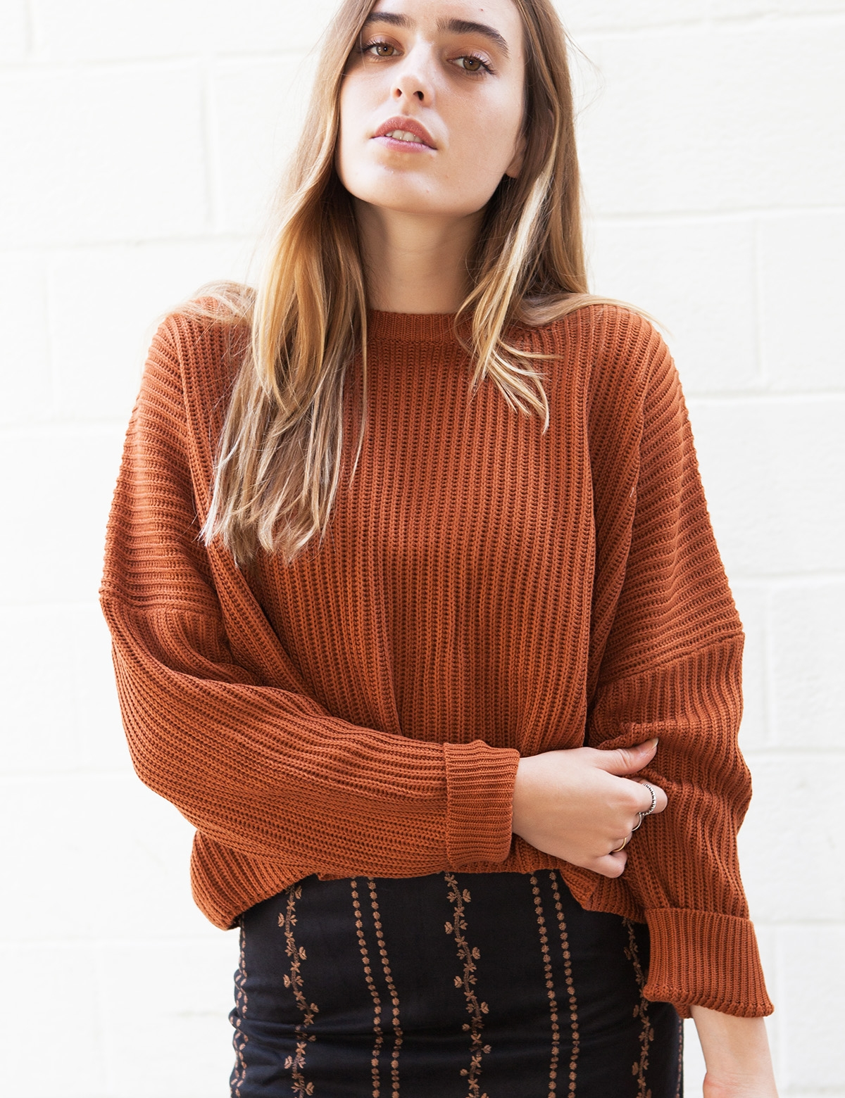 Krista Rust Knit Sweater