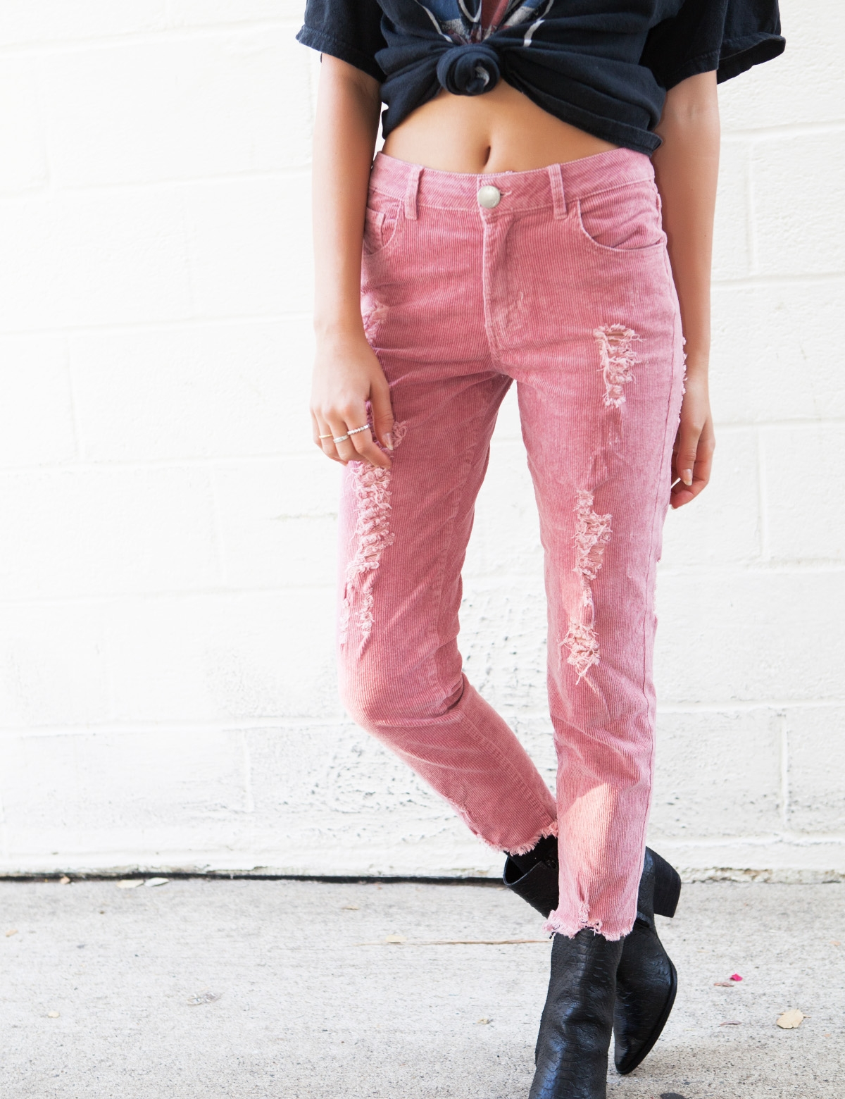 Take Me Out Pink Corduory Jeans