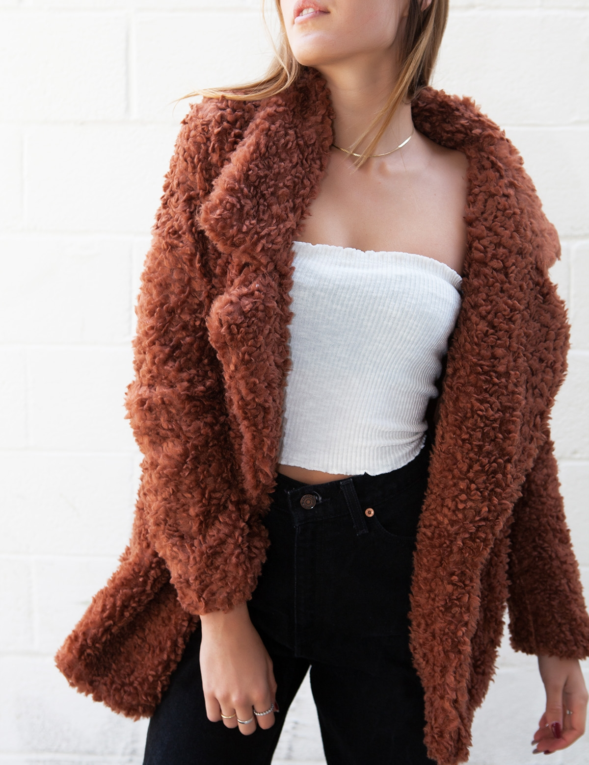 Peyton Brown Fuzzy Coat