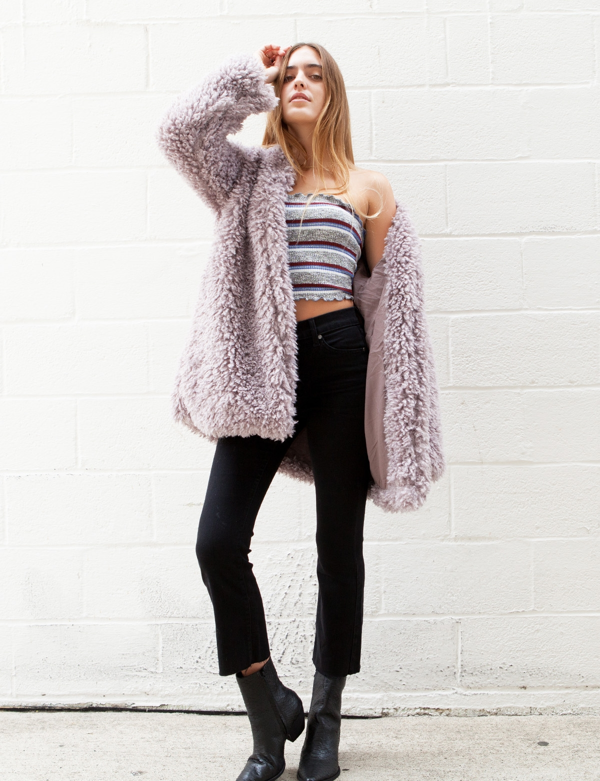 Reve Purple Over size fit  Fuzzy Coat