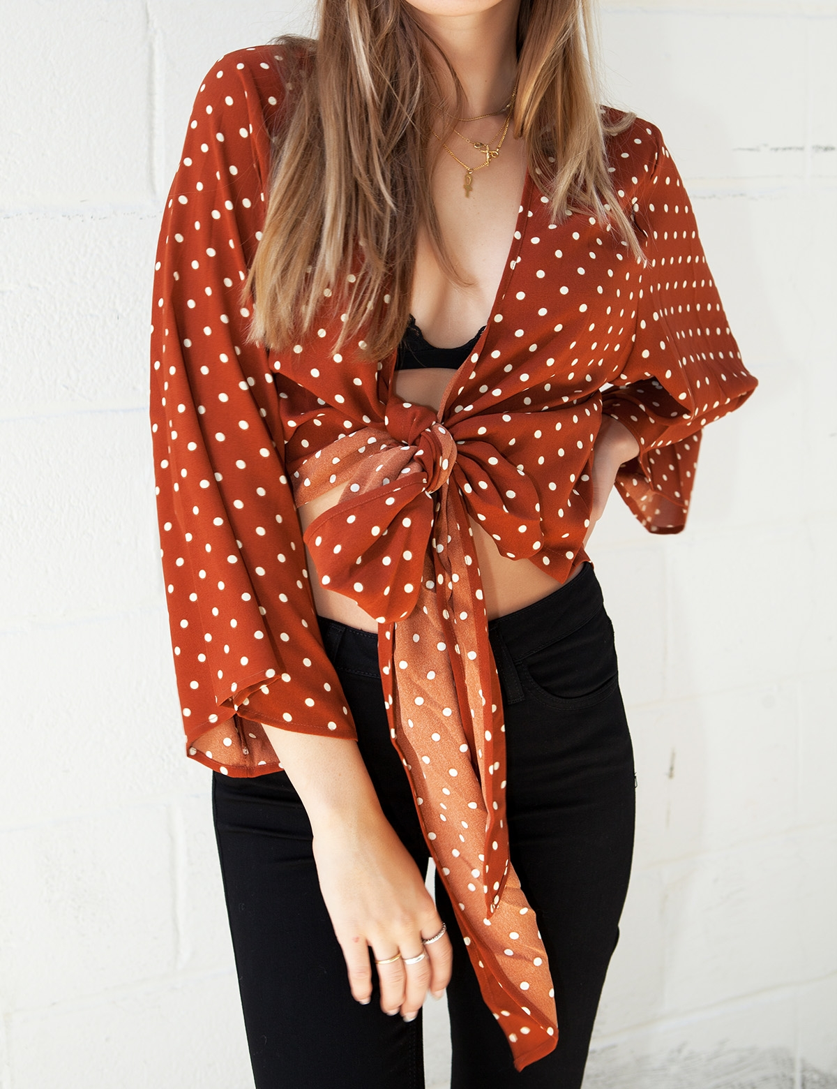 Autumn Polka Dot Tie Top